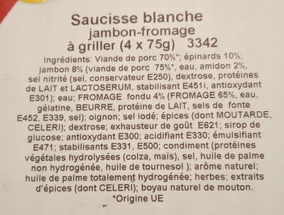 saucisse blanche jambon fromage à griller - Ingrediënten - fr