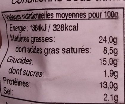 Fricadelles - Nutrition facts