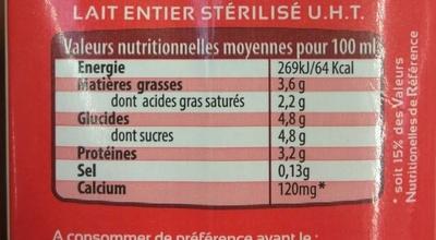 Lait entier UHT BBC sans OGM Bretagne - Valori nutrizionali - fr