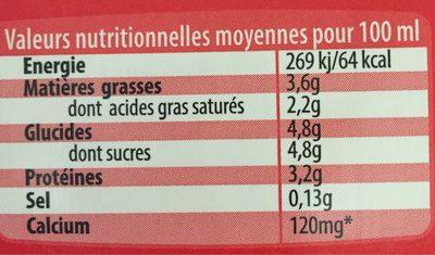 Lait entier UHT BBC sans OGM Normandie - Informations nutritionnelles - fr