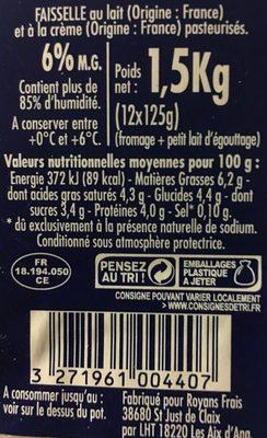 Faisselle - fromage frais de campagne - Ingredients