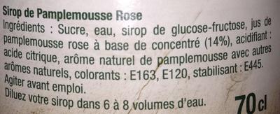 Sirop pamplemousse rose - Ingrediënten