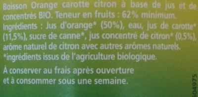 Capital Vitamine - Orange, Carotte, citron - Ingrédients
