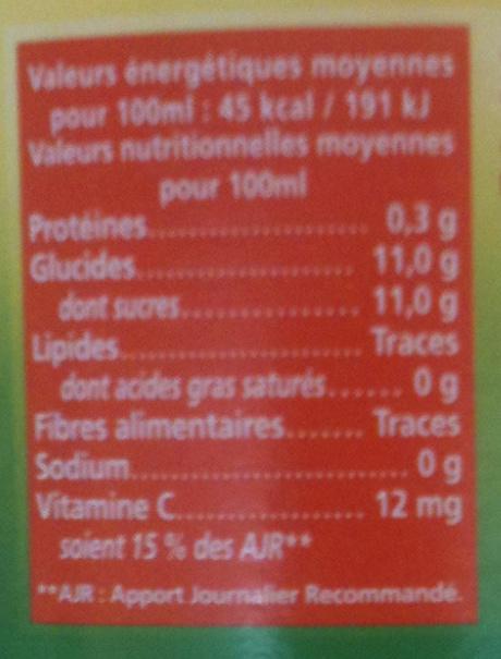 Capital Vitamine - Orange, Carotte, citron - Informations nutritionnelles