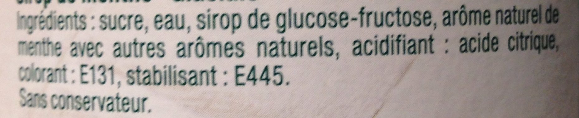 Sirop Menthe Glaciale - Ingrédients - fr