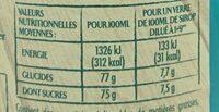 Sirop Menthe Glaciale - Informations nutritionnelles - fr