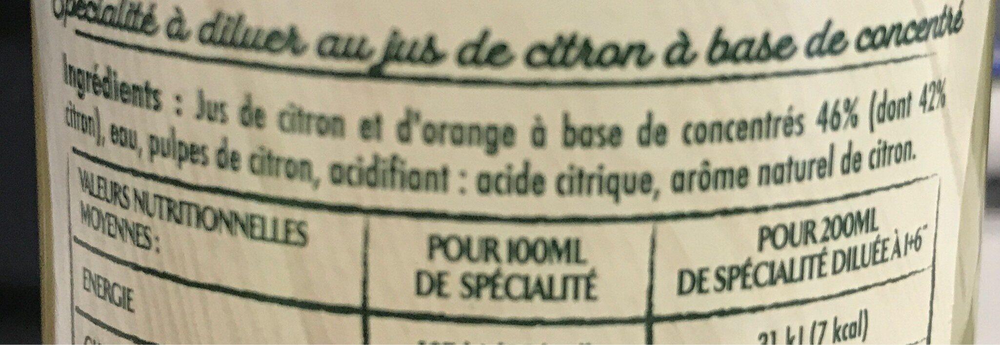 Specialité concentrée au citron - Ingrédients - fr