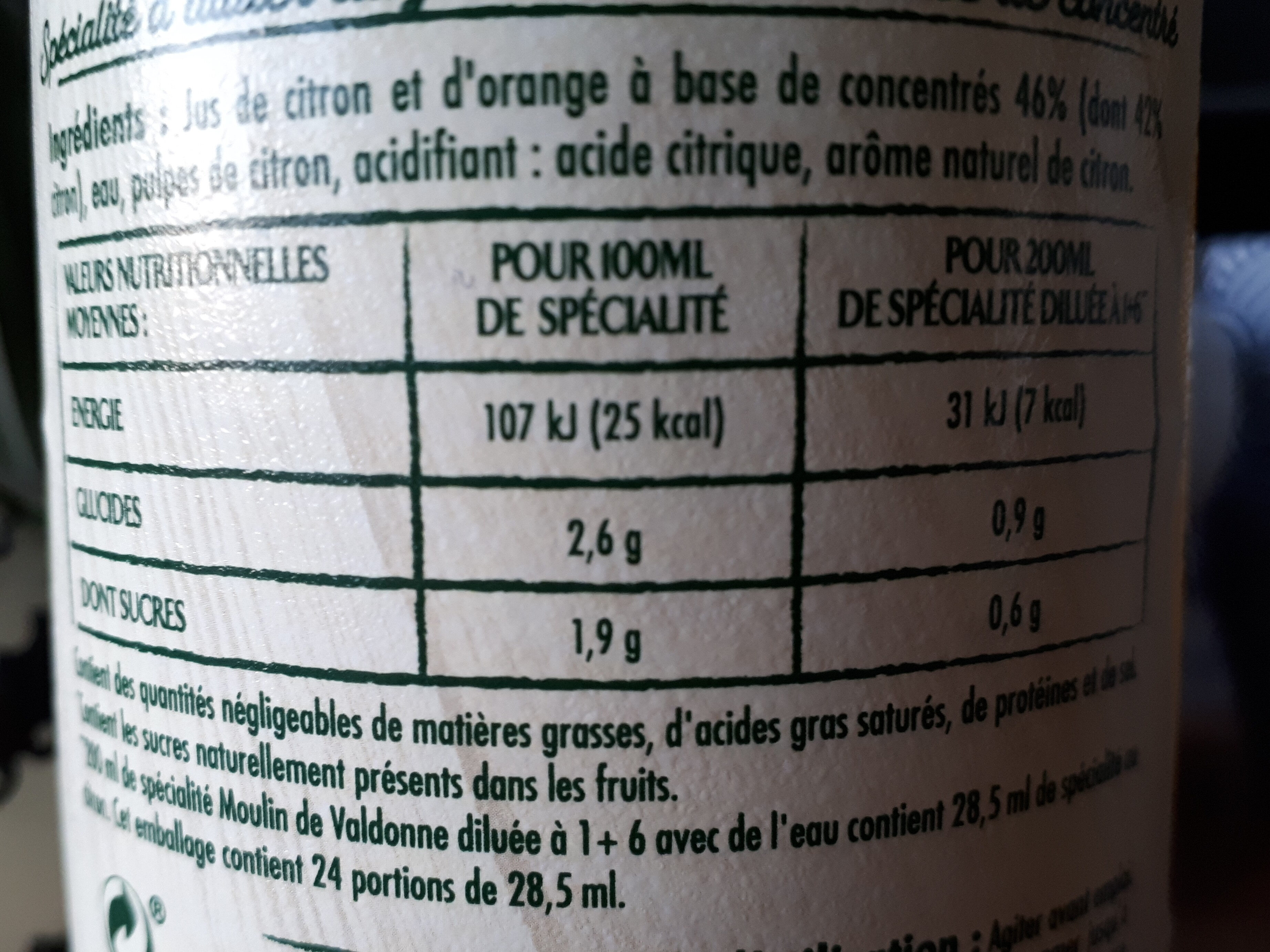 Specialité concentrée au citron - Informations nutritionnelles - fr