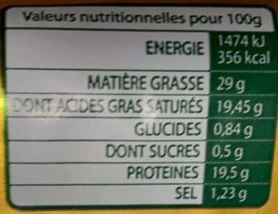 Charcennay (30% MG) - Informations nutritionnelles - fr