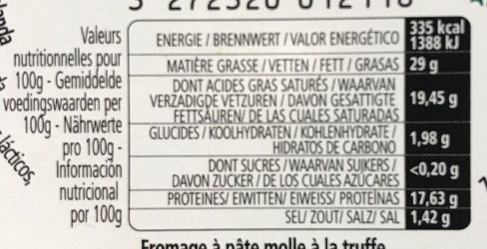L'Ortolan Truffe 29% M.G. - Informations nutritionnelles - fr