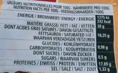 L'Ortolan original - Informations nutritionnelles - fr