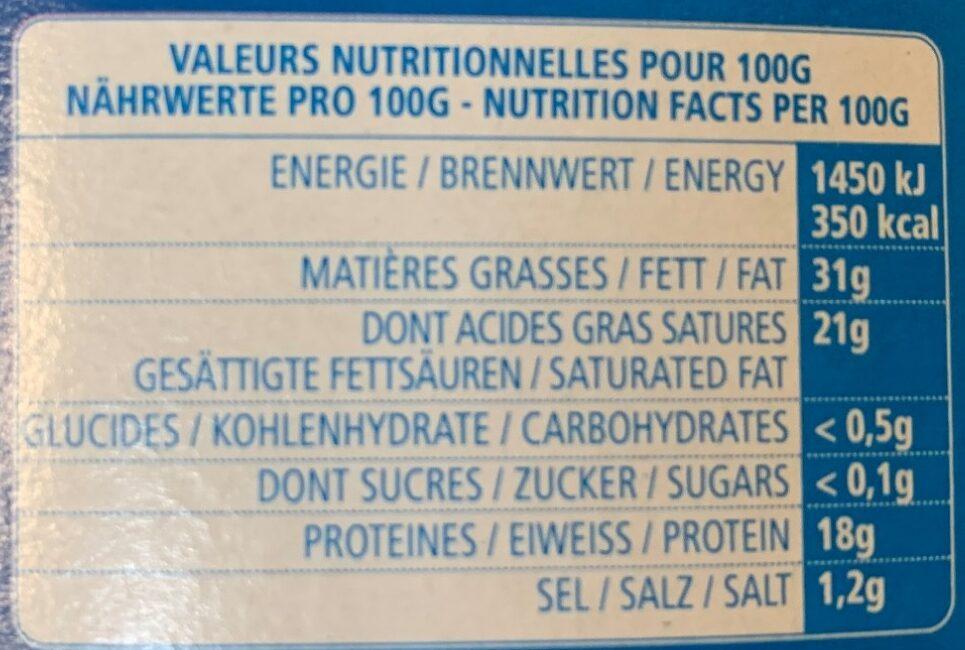 Crèmeux Fou - Informations nutritionnelles