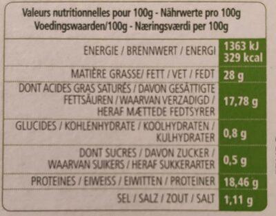 L'Ortolan Bio portions - Informations nutritionnelles - fr