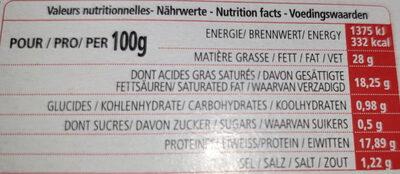 L'Ortolan Portions - Informations nutritionnelles - fr
