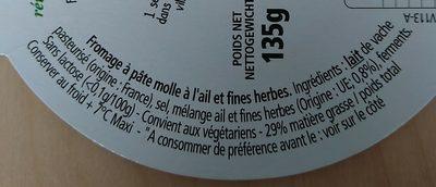 l'Ortolan - Ail et Fines Herbes - Ingrédients - fr