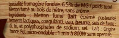 La Cancoilllotte Fumée - Ingrédients