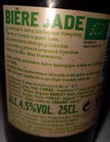 Bière blonde pur malt Jade - Ingrediënten - fr