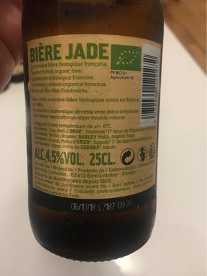 Bière blonde pur malt Jade - Voedingswaarden - fr