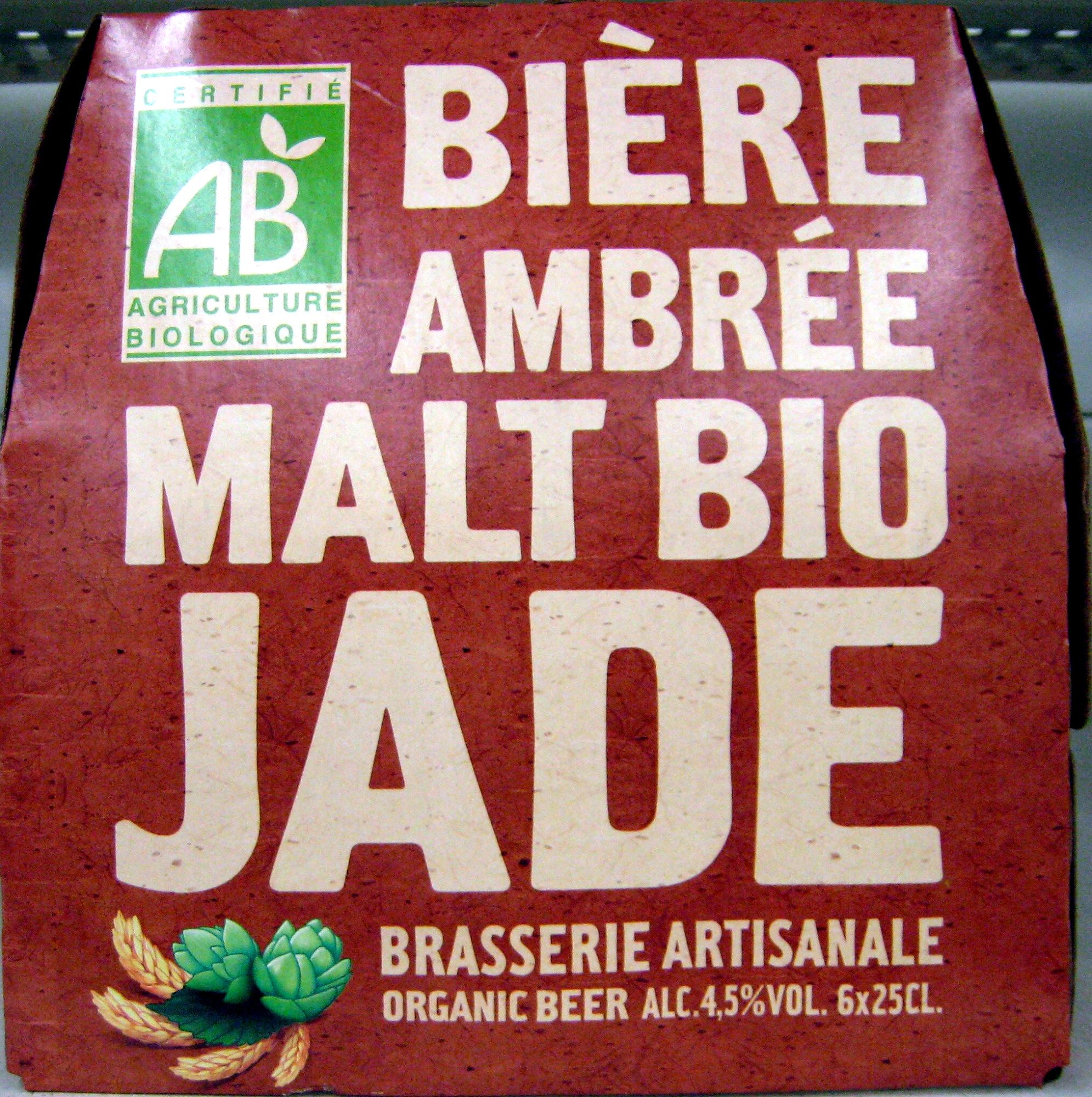 Bière ambrée malt bio Jade - Product