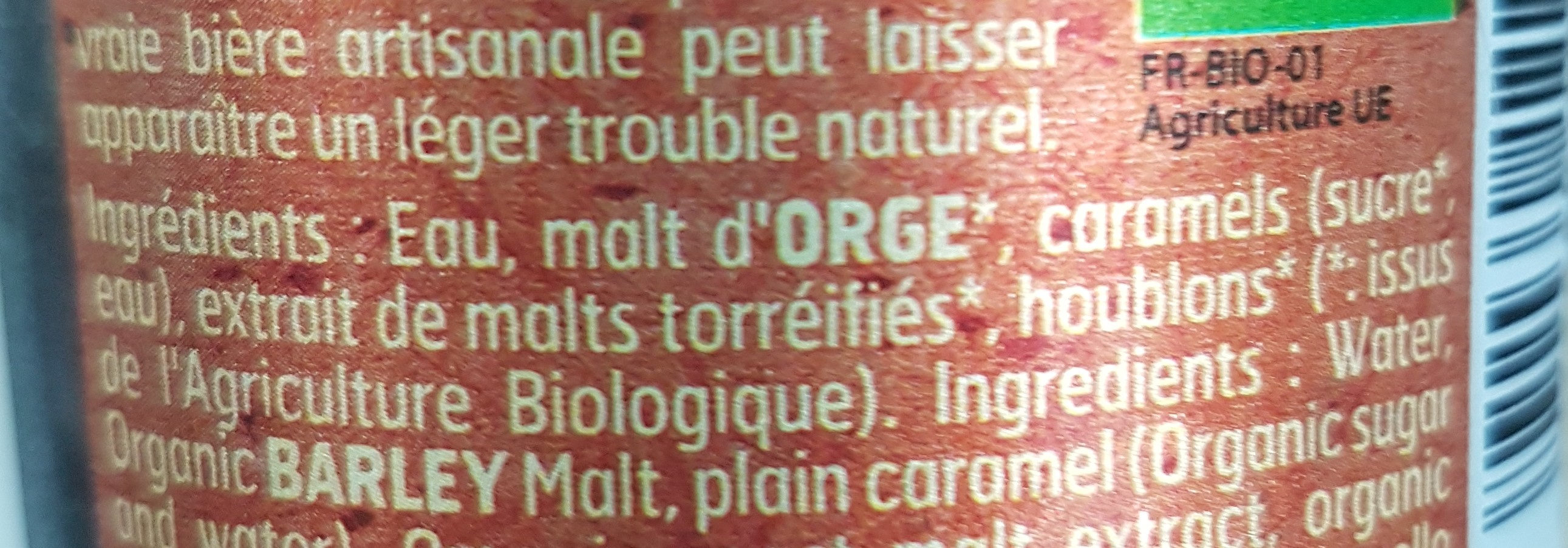 Bière ambrée malt Bio - Voedingswaarden - fr
