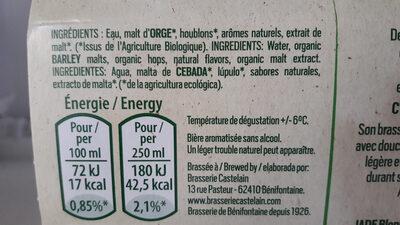 Jade biere sans alcool - Ingrediënten - fr