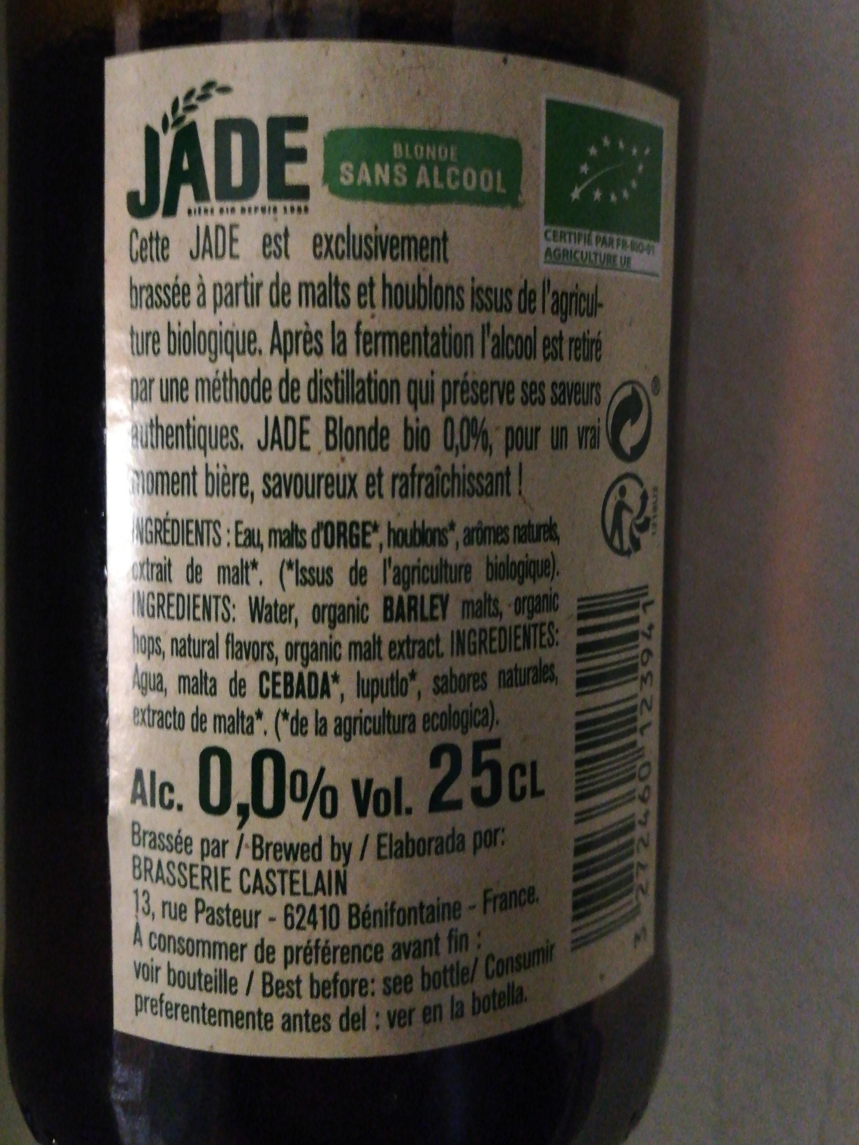 Jade Blonde sans alcool - Voedingswaarden - fr
