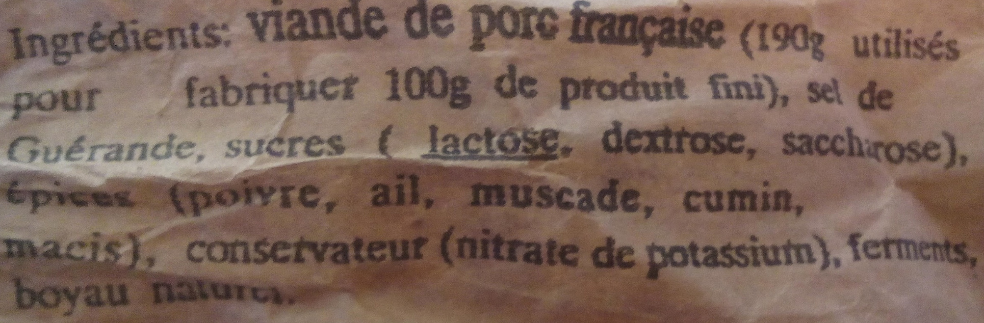 Saucisson sec de campagne pur porc - Ingrediënten - fr
