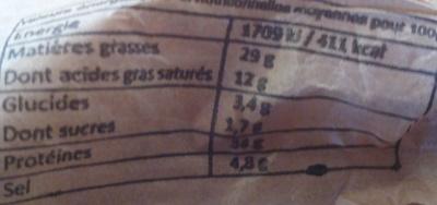 Saucisson sec de campagne pur porc - Voedingswaarden - fr