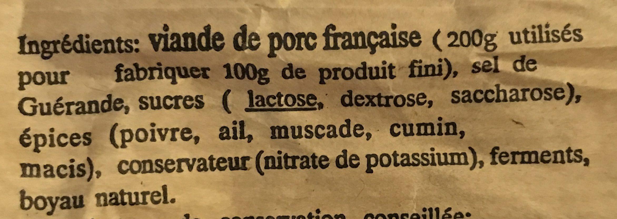 Saucisse sèche de campagne pur porc - Ingrediënten