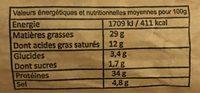 Saucisse sèche de campagne pur porc - Voedingswaarden