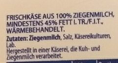 100% ZIEGENMILCH MILDER ZIEGENKÄSE  Käse - 成分 - de
