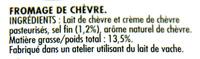 Chavroux Pur Chèvre - Ingrédients - fr
