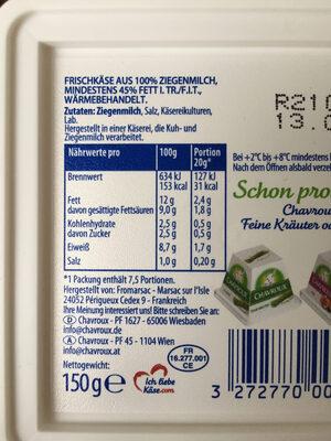 100% ZIEGENMILCH MILDER ZIEGENKÄSE  Käse - 营养成分 - de
