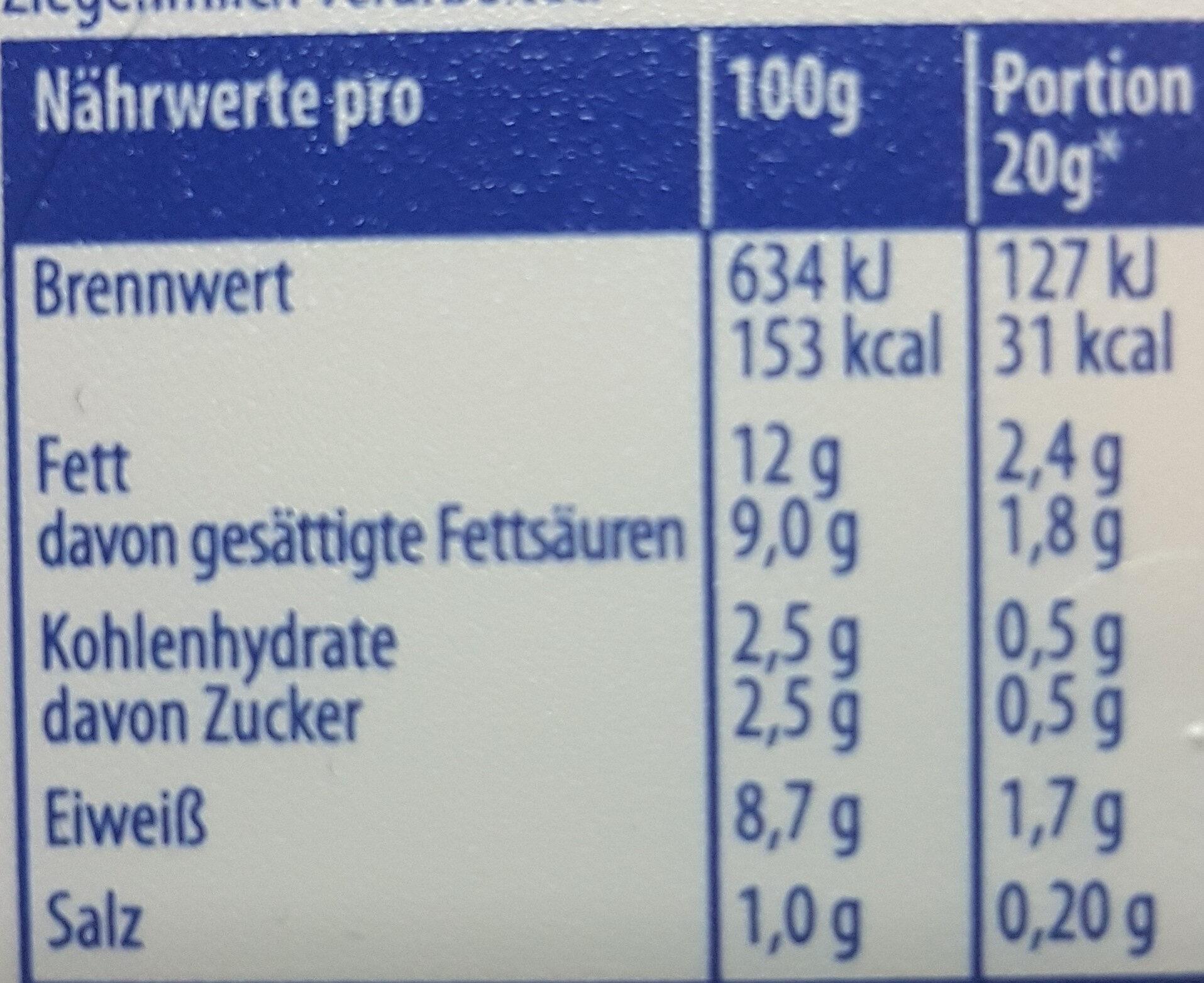 100% ZIEGENMILCH MILDER ZIEGENKÄSE  Käse - Nutrition facts - en