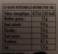 Chavroux Pur Chèvre - Informations nutritionnelles - fr