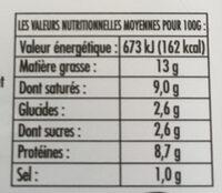 100% ZIEGENMILCH MILDER ZIEGENKÄSE  Käse - Informations nutritionnelles - fr