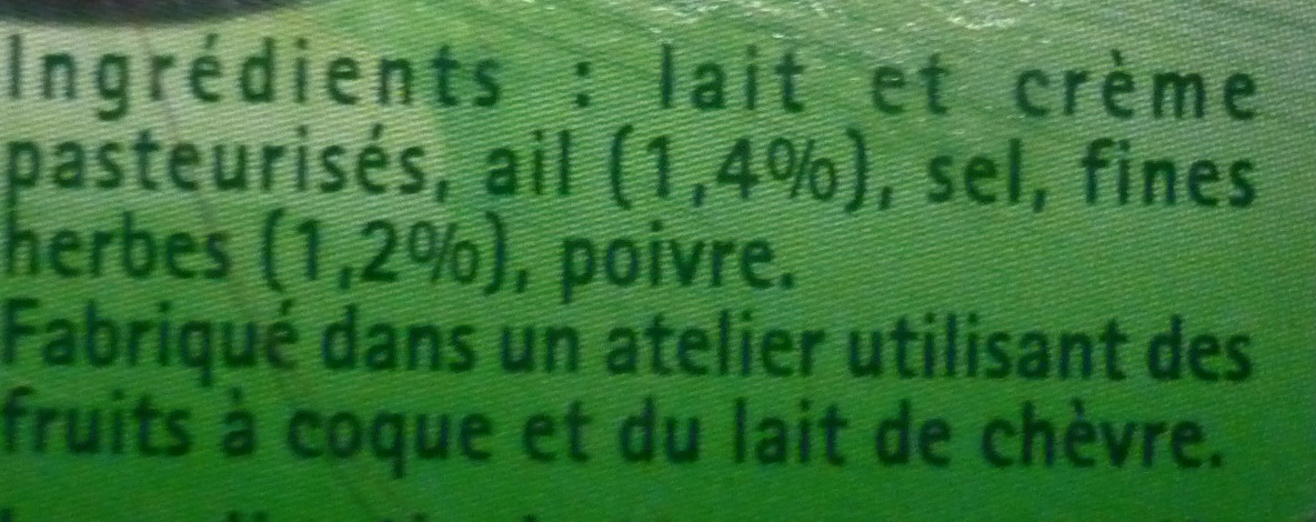 L'Original Tartare, Ail & Fines Herbes (6 portions) - (32,2 % MG) - Ingrediënten