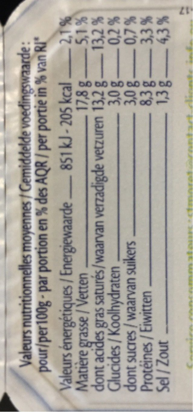 9 Minis St Moret (17,8% MG) - Información nutricional
