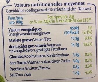Le Goût Primeur (17,5 % MG) - Informations nutritionnelles - fr