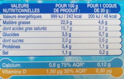 P'tit Louis (26% MG) - Informations nutritionnelles
