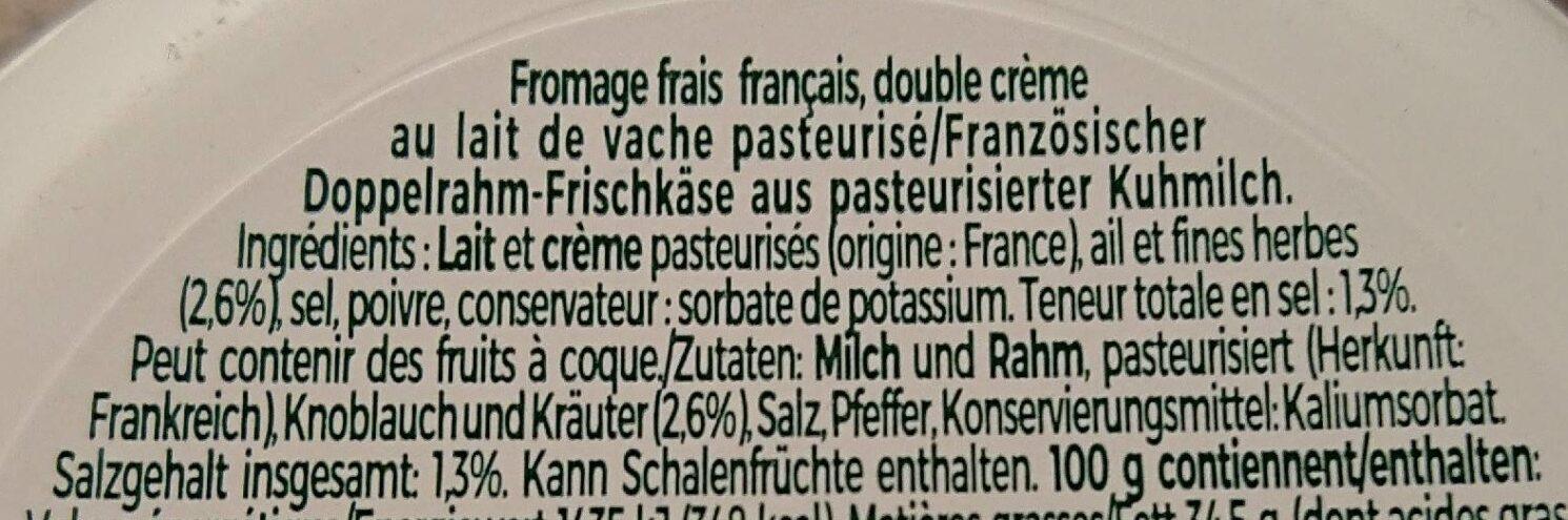 Tartare Ail et Fines Herbes - Ingrédients - fr