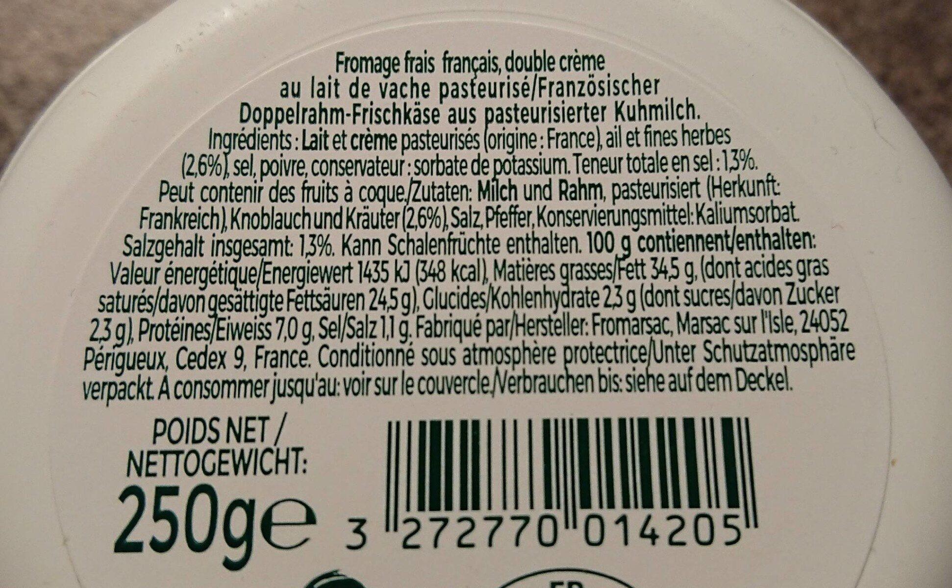 Tartare Ail et Fines Herbes - Informations nutritionnelles - fr