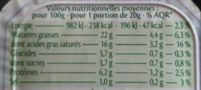 Minis St Môret bio - Informations nutritionnelles