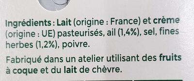 Tartare Ail & Fines herbes - Valori nutrizionali - fr
