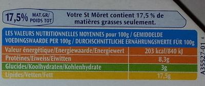 St Môret® Le Goût Primeur (17,5% MG) - fomat Familial 300 g - Informations nutritionnelles