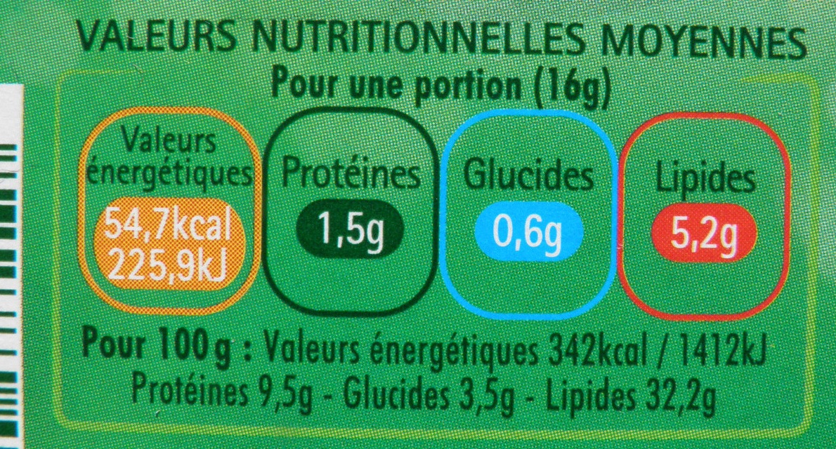 L'Original Tartare, Ail & Fines Herbes (8 portions) - (32,2 % MG) - Nutrition facts - fr