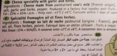 FROMAGE TARTARE - Ingrédients - fr