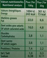 FROMAGE TARTARE - Informations nutritionnelles - fr
