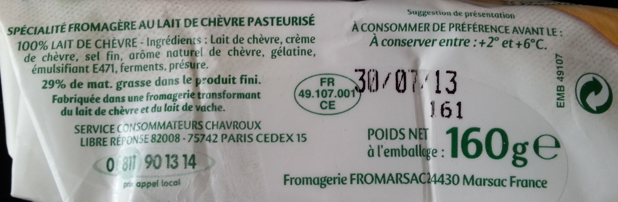 Tendre Bûche (29 % MG) - Ingredients - fr