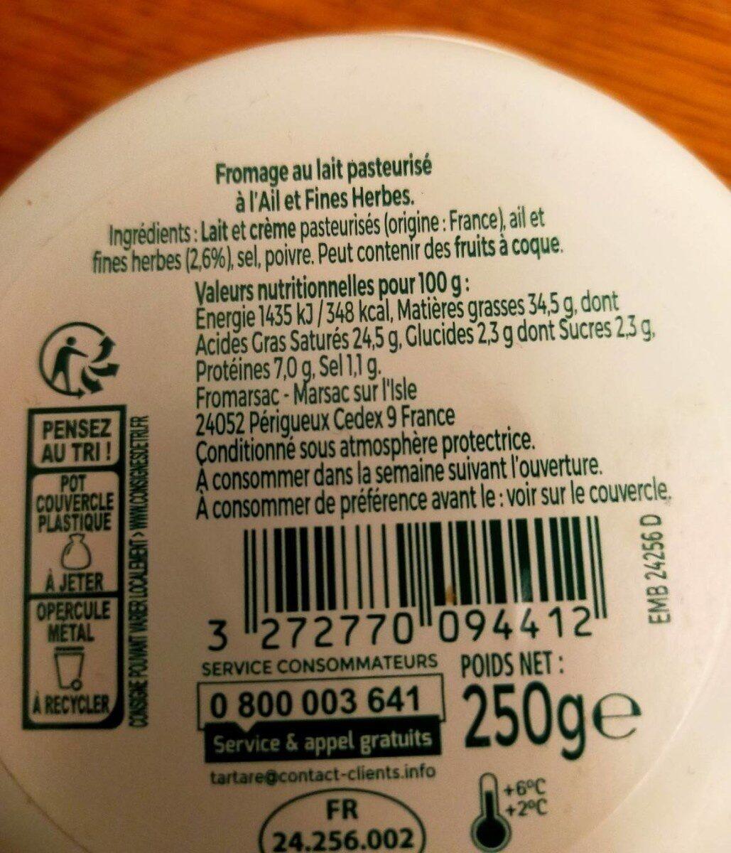 L'original tartare ail & fines herbes - Valori nutrizionali - fr